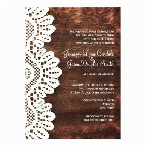 "Lace Wood Wedding Invitations Rustic Country Wood Lace Wedding Invitations 4 5"" X 6 25"