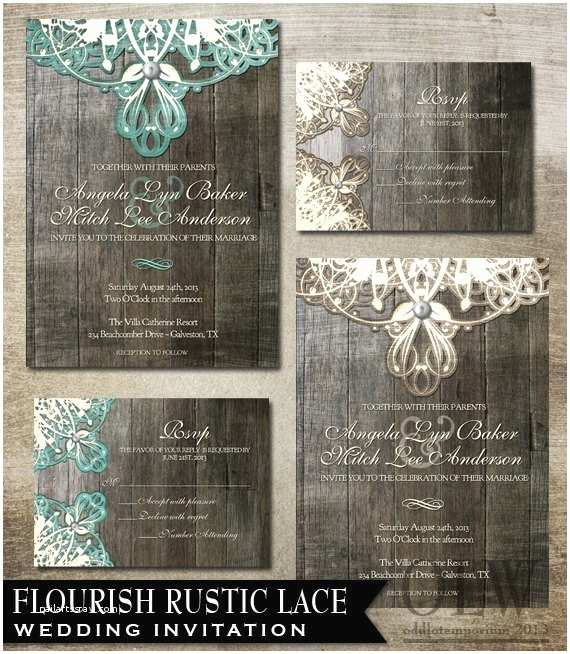 Lace Wood Wedding Invitations Rustic Lace Wedding Invitation and Rsvp Digital