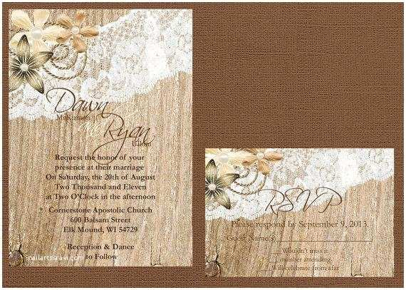 Lace Wood Wedding Invitations Rustic Lace Wedding Invitation Lace and Wood Wedding