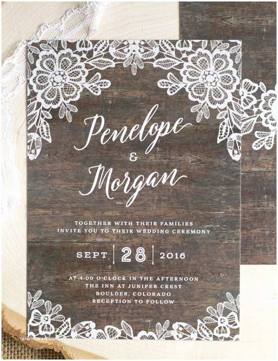 Lace Wood Wedding Invitations Rustic Lace Wedding Invitations