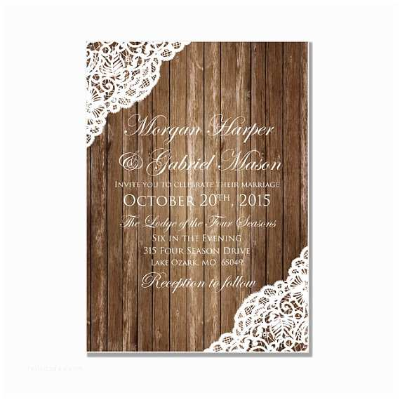 Lace Wood Wedding Invitations Rustic Wedding Invitation Country Chic Rustic Wood