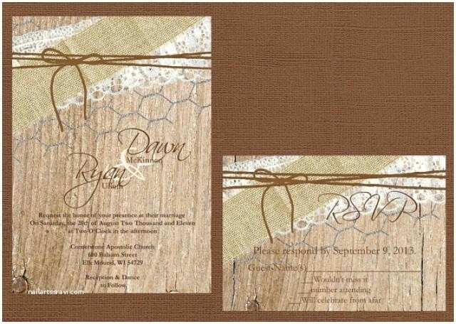 Lace Wood Wedding Invitations Rustic Wedding Invitation Lace and Burlap Wedding