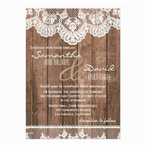 Lace Wood Wedding Invitations Rustic White Lace and Wood Wedding Invitation