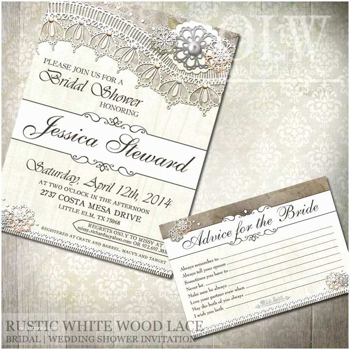 Lace Wood Wedding Invitations Rustic White Wood Lace Bridal Shower Invitations and Advice