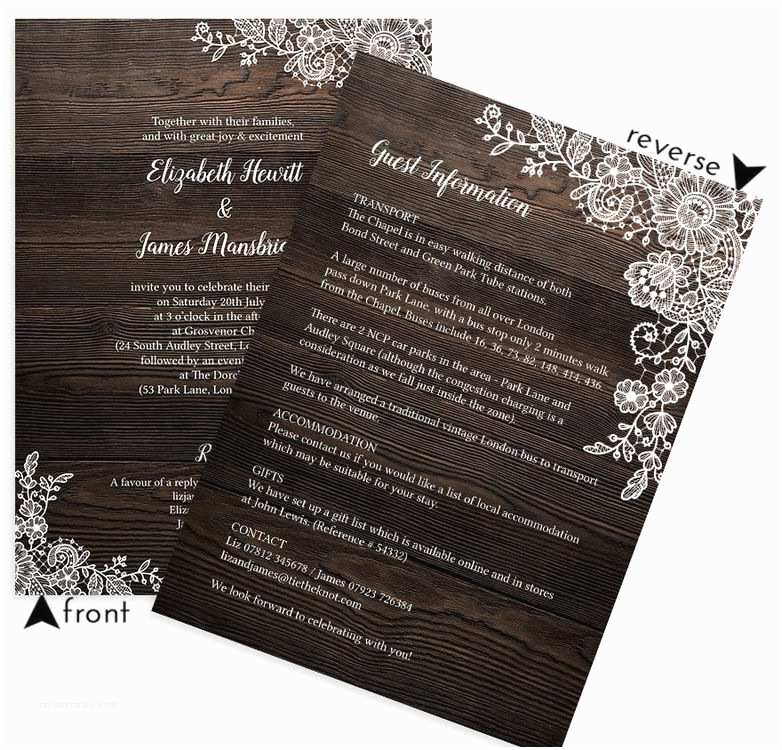 Lace Wood Wedding Invitations Rustic Wood & Lace Wedding Invitation From £1 00 Each