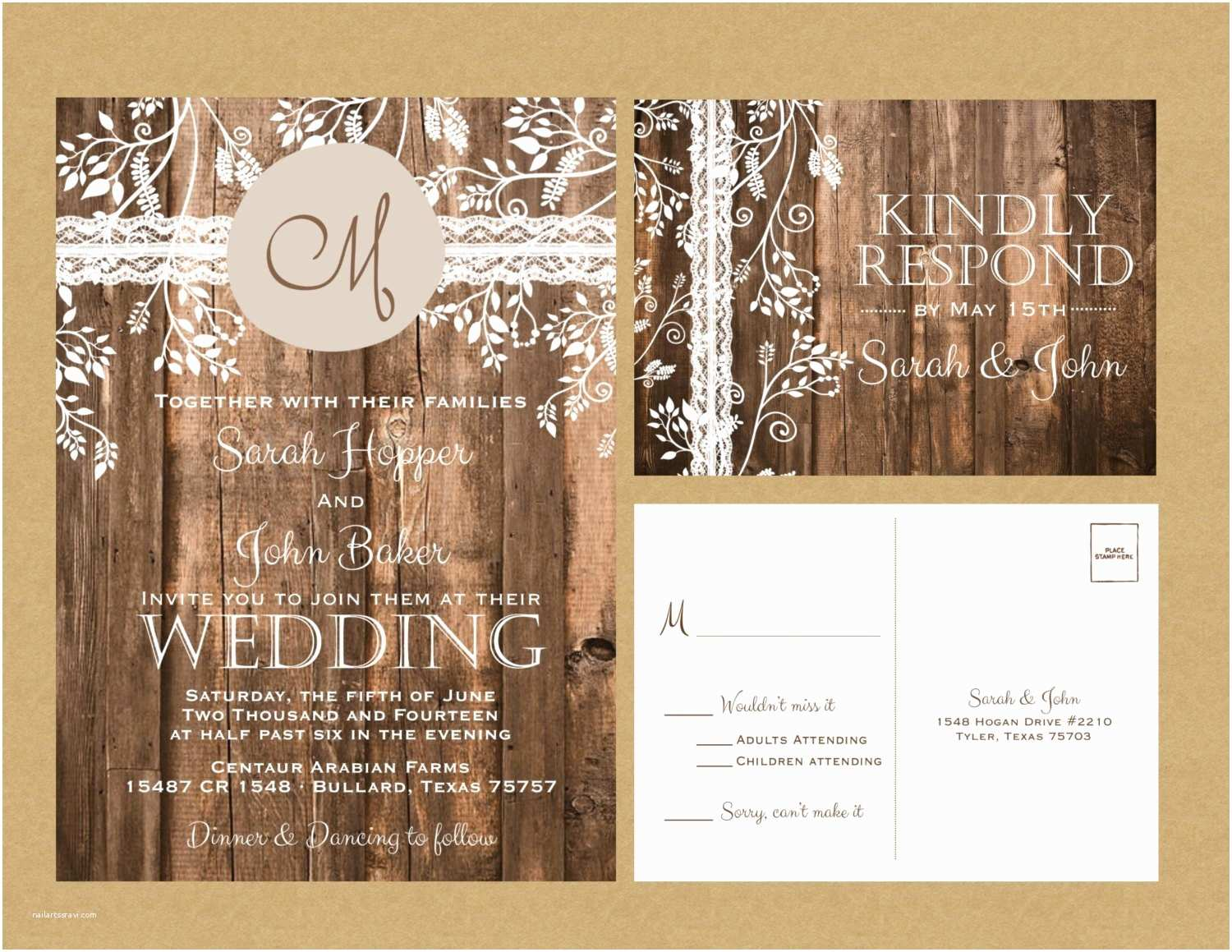 Lace Wood Wedding Invitations Rustic Wood & Vintage Lace Wedding Invitation by Papernpeonies