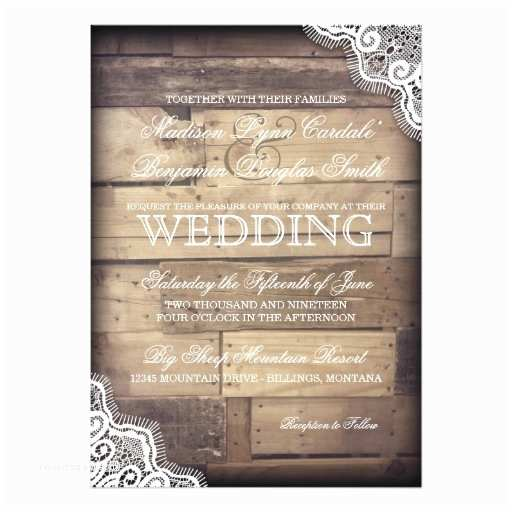 Lace Wood Wedding Invitations Rustic Wood and Lace Country Wedding Invitations