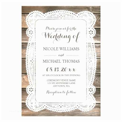 Lace Wood Wedding Invitations Rustic Wood Lace Wedding Invitations