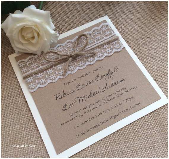 Lace Wood Wedding Invitations Vintage Rustic Lace Wedding Invitation with Twine Rebecca
