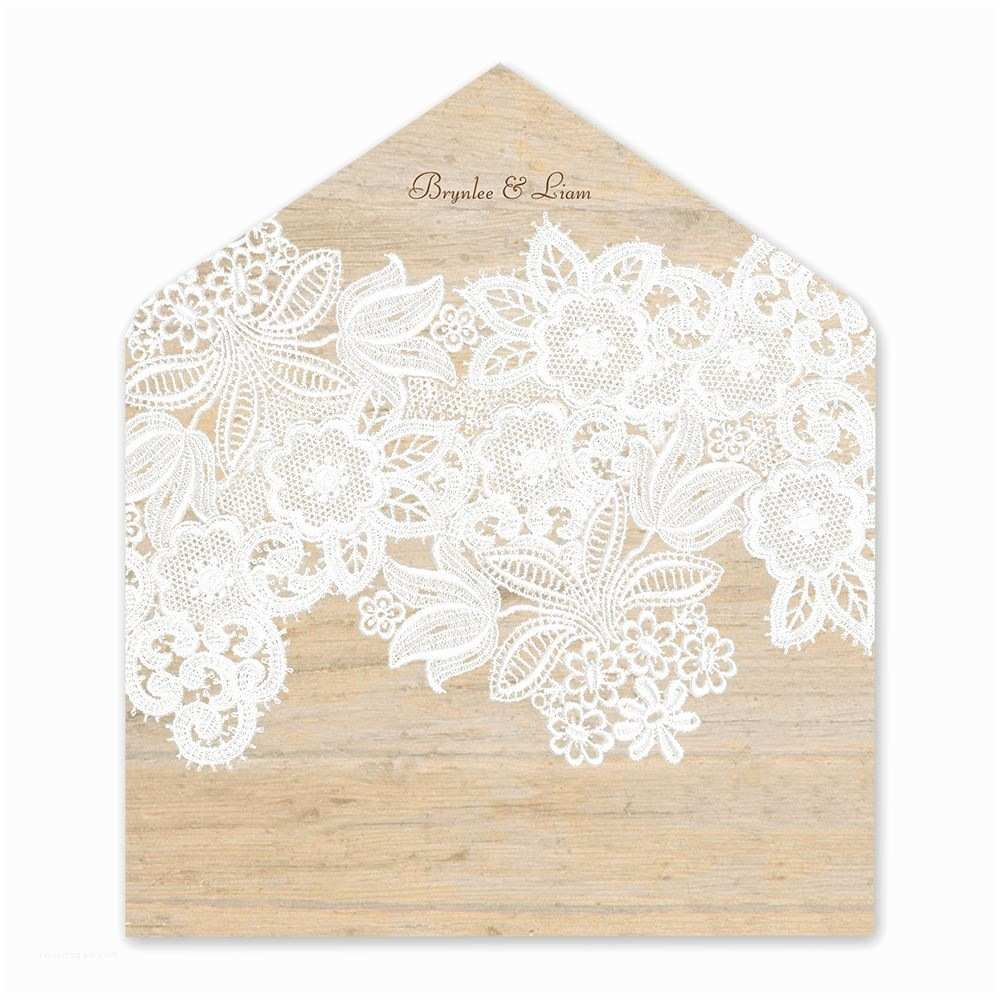 Lace Wood Wedding Invitations Wood and Lace Envelope Liner