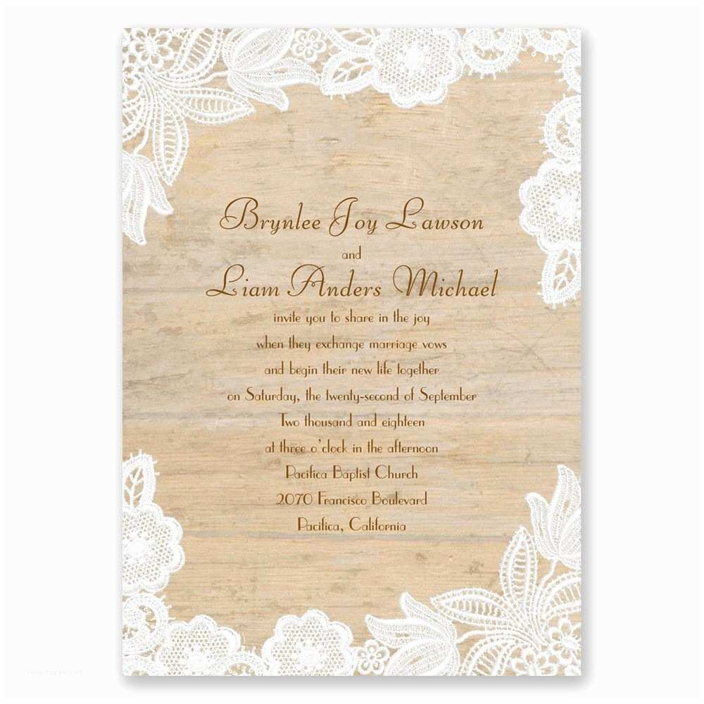 Lace Wood Wedding Invitations Wood and Lace Invitation