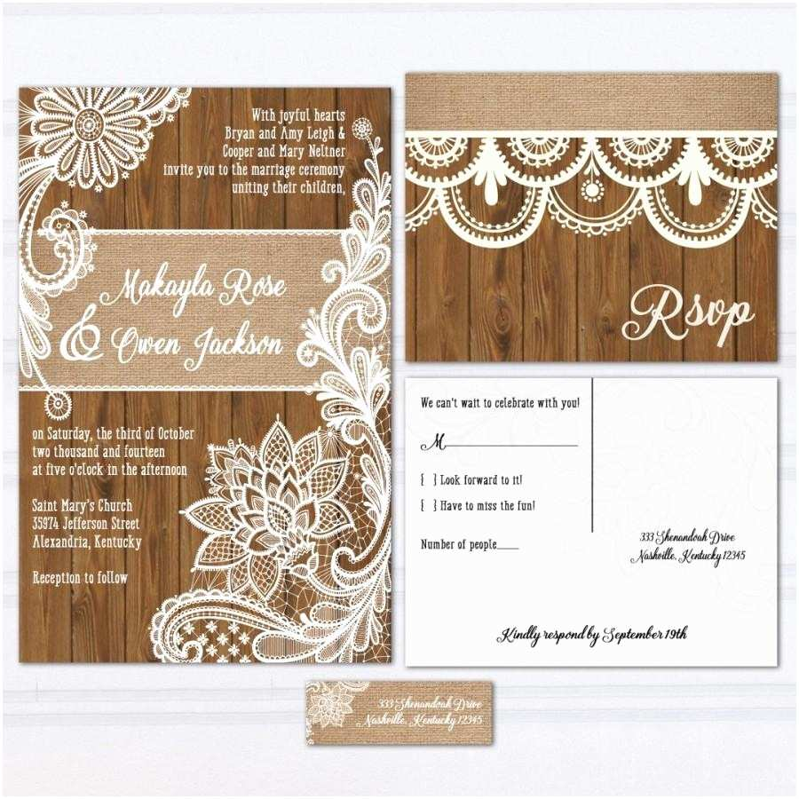 Lace Wood Wedding Invitations Wood Lace Wedding Invitation Suite Burlap and Lace Wood