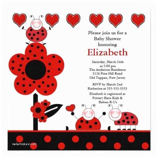 """Ladybug Baby Shower Invitation Cute Ladybug Baby Shower Invitation 5 25"""""""