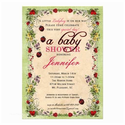 """Ladybug Baby Shower Invitation Ladybug Baby Shower Invitation 5"""" X 7"""" Invitation Card"""