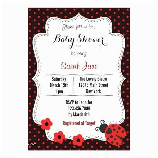 Ladybug Baby Shower Invitation Ladybug Baby Shower Invitation Polka Dots Red Invitation