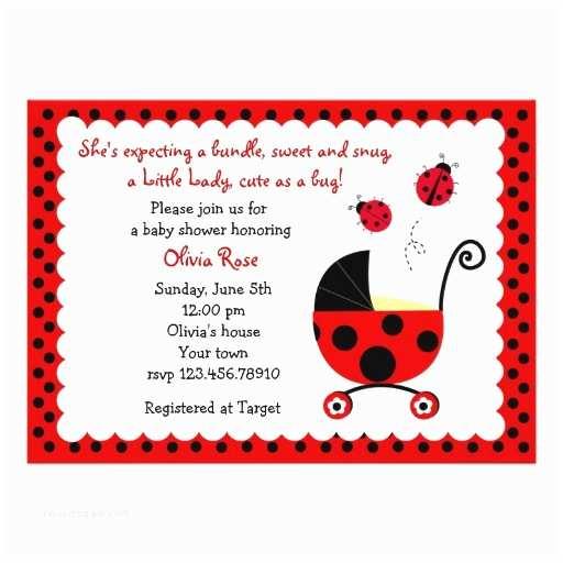 """Ladybug Baby Shower Invitation Ladybug Baby Shower Invitations 5"""" X 7"""" Invitation"""