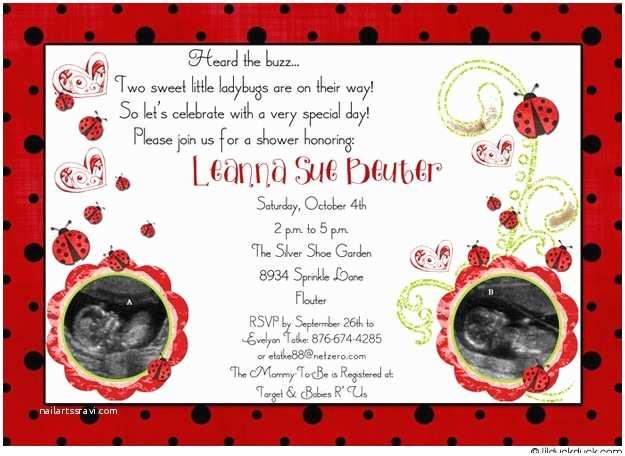 Ladybug Baby Hower Invitation Ladybug Baby Hower Invitations Cute Tyle