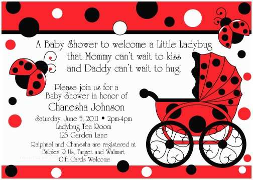 Ladybug Baby Shower Invitation Ladybug Buggy Baby Shower Invitations