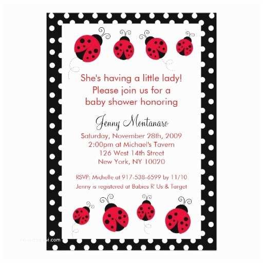 Ladybug Baby Shower Invitation Ladybug Red Black Dots Baby Shower Invitation