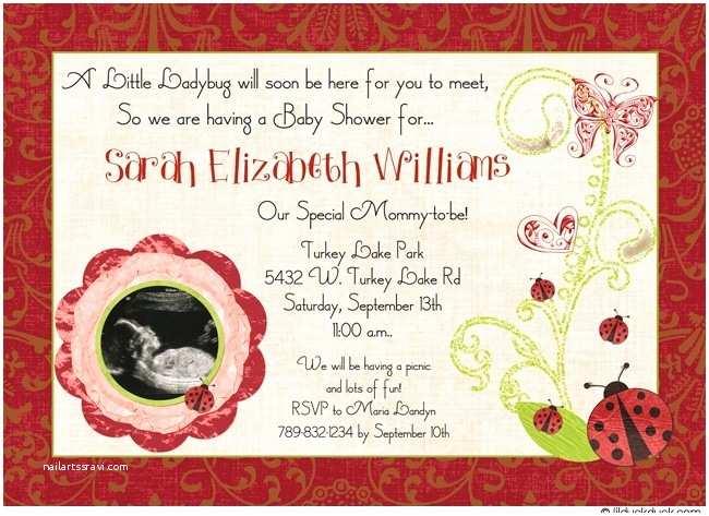 Ladybug Baby Shower Invitation Ladybug Ultrasound Shower Invitation Little