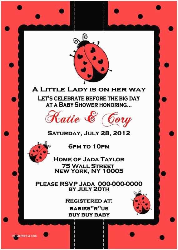 Ladybug Baby  Invitation Little Ladybug Baby  Invitation Ladybug Baby