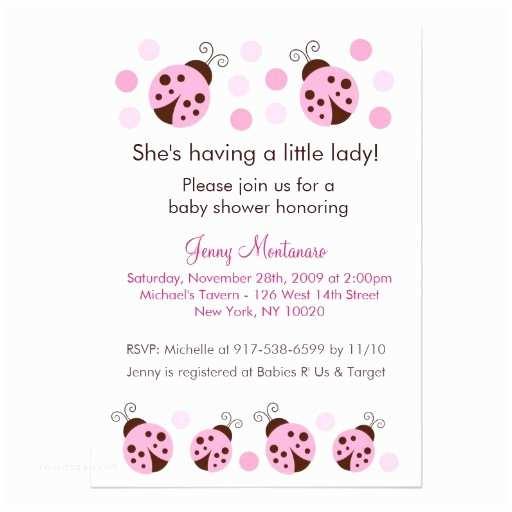 Ladybug Baby Shower Invitation Mod Ladybug Pink Brown Dots Baby Shower Invitation
