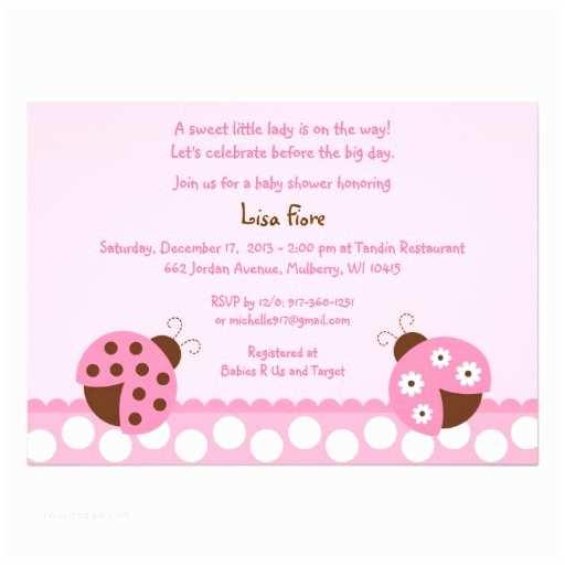 "Ladybug Baby Shower Invitation Mod Pink Ladybug Baby Shower Invitations 5"" X"