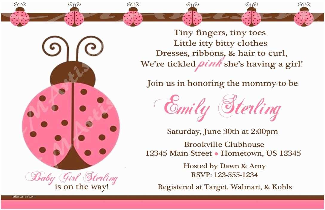 Ladybug Baby Shower Invitation Personalized