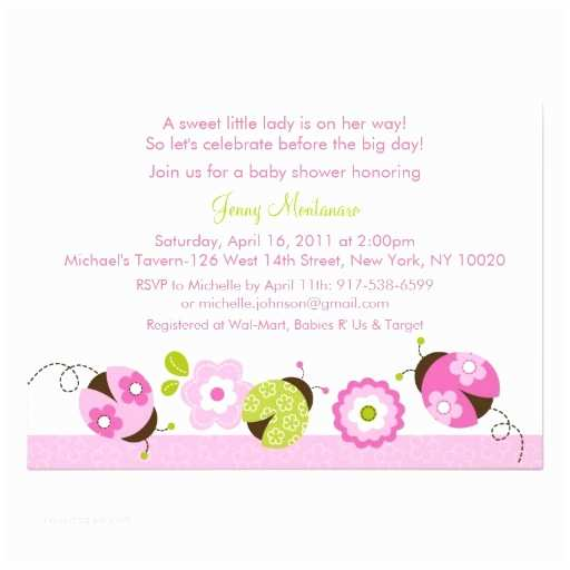 Ladybug Baby Shower Invitation Pink Green Ladybug Flower Baby Shower Invitations