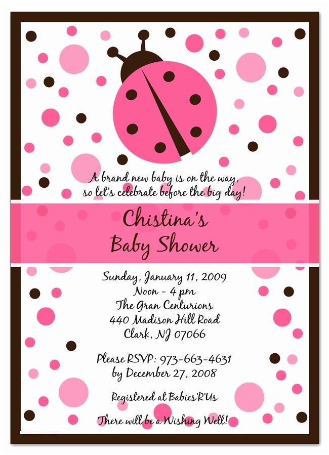 Ladybug Baby Shower Invitation Pink Ladybug Baby Shower Invitations Party