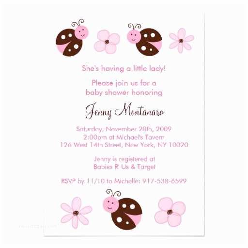 """Ladybug Baby Shower Invitation Pink Ladybug Custom Baby Shower Invitations 5"""" X"""