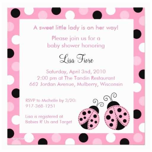 """Ladybug Baby Shower Invitation Pink Ladybug Dots Baby Shower Invitations 5 25"""""""
