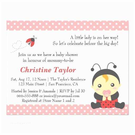 Ladybug Baby Shower Invitation Pink Polka Dots Cute Ladybug Girl Baby Shower