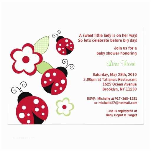 Ladybug Baby Shower Invitation Red Ladybug Flower Custom Baby Shower