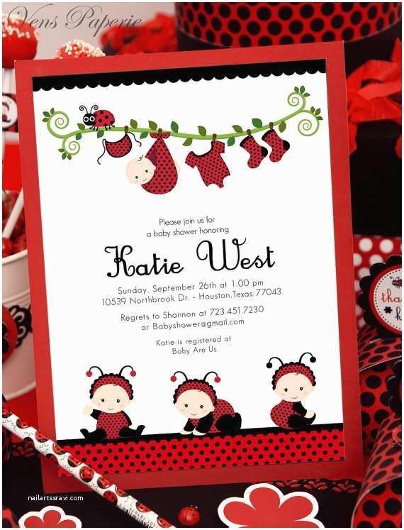 Ladybug Baby Shower Invitations Diy Printable Invitation Card Red Lady Bug Baby Shower