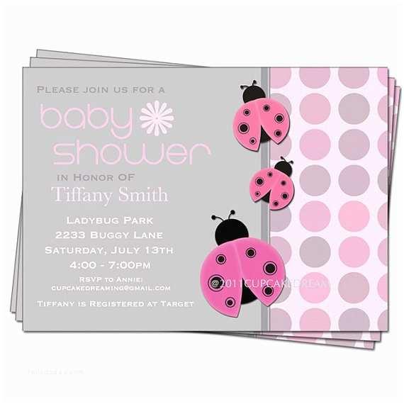Ladybug Baby Shower Invitations Ladybug Baby Shower Invitation Girl Baby Shower