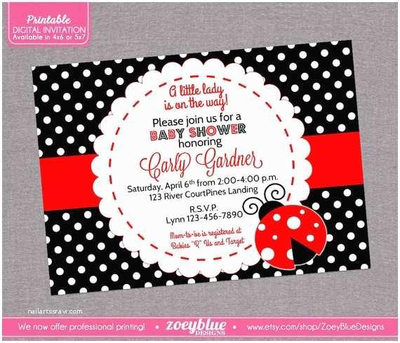 Ladybug Baby Shower Invitations Ladybug Baby Shower Invitation Lady Bug by Zoeybluedesigns