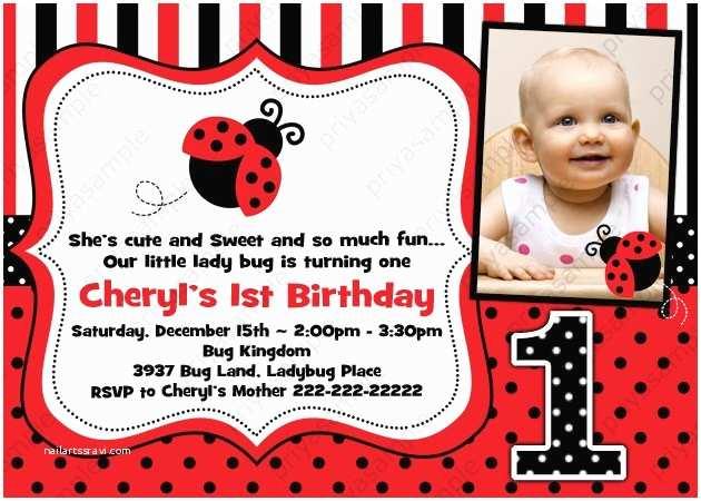 Ladybug Birthday Invitations Lady Bug Birthday Invitation