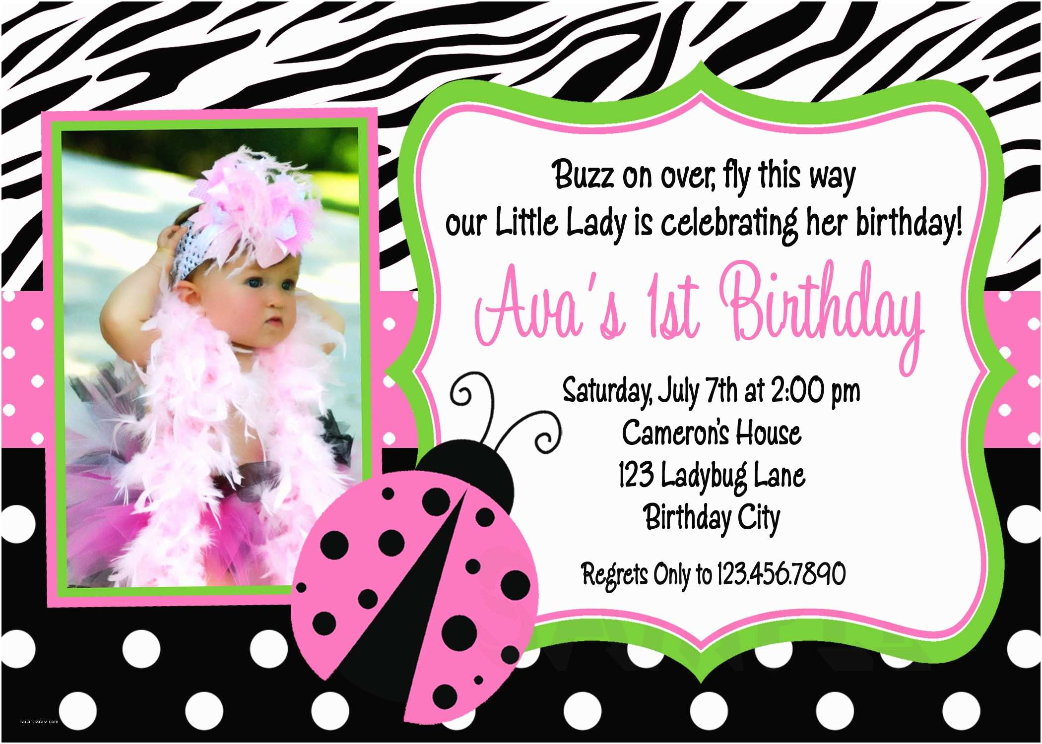 Ladybug Birthday Invitations Printable Birthday Invitations Ladybug First Party Pink