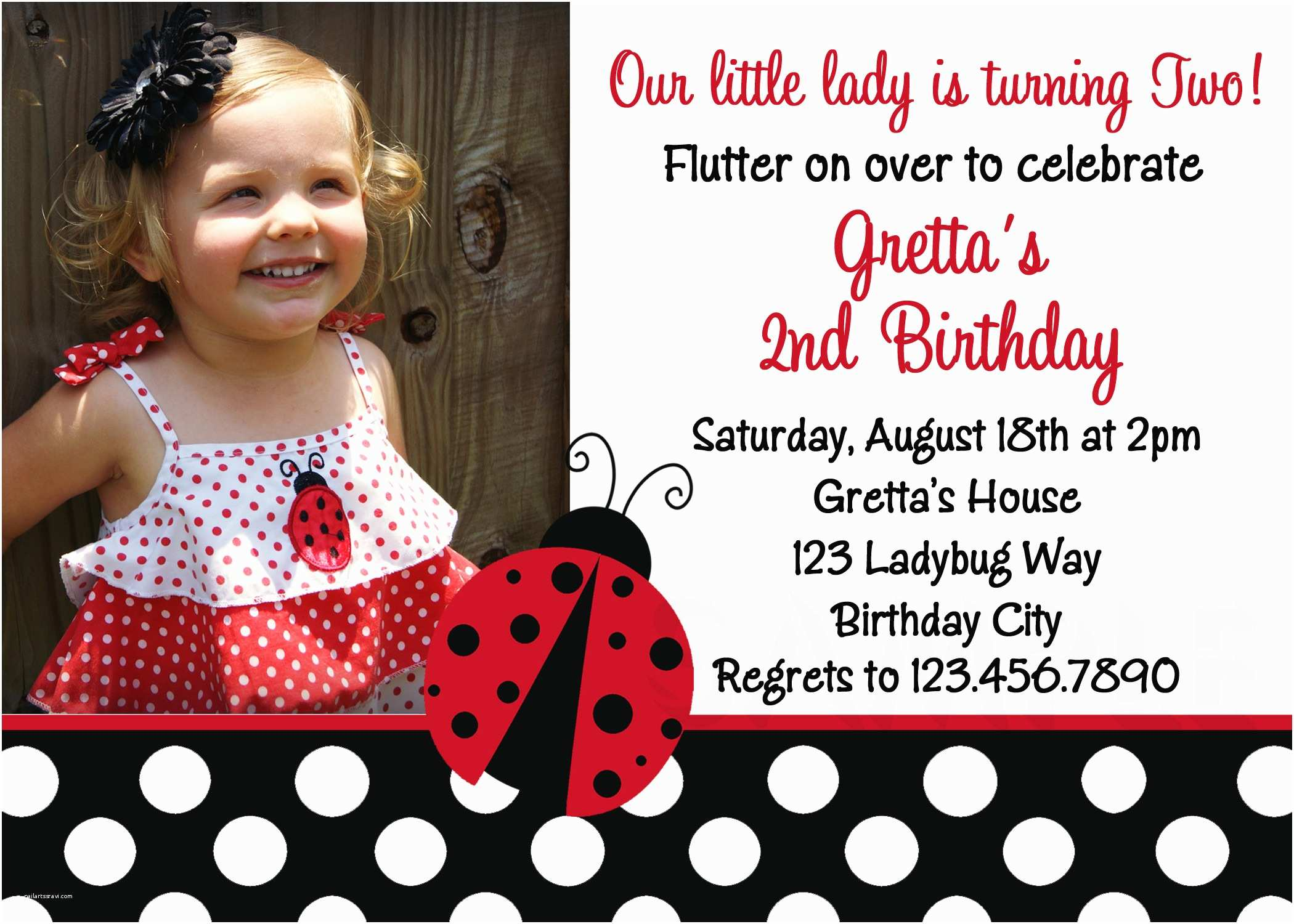 ladybug polka dots red photo birthday invitations