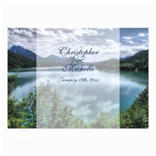 Lake Wedding Invitations Beautiful Mountain Lake Wedding Invitation