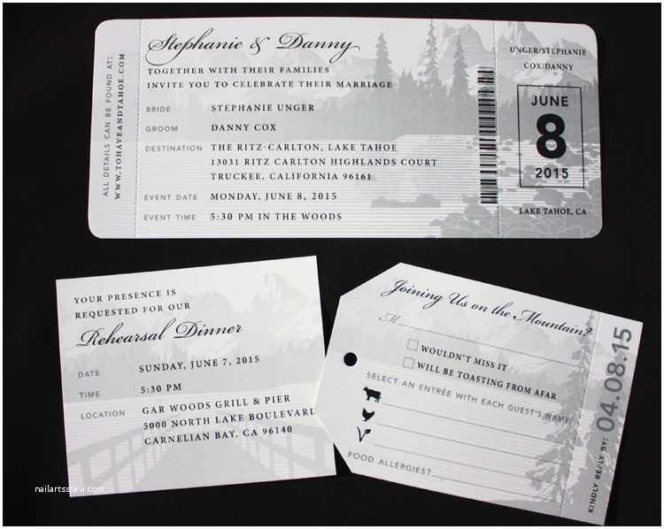 Lake Wedding Invitations Black & White Lake Tahoe Travel themed Airline Ticket