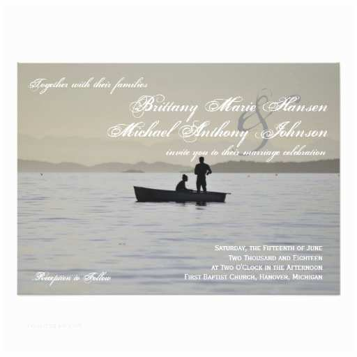 Lake Wedding Invitations Boat & Couple Silhouette Lake Wedding Invitation