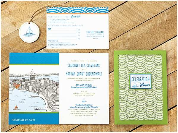 Lake Wedding Invitations Courtney Nate S Wisconsin Lake Wedding Invitations