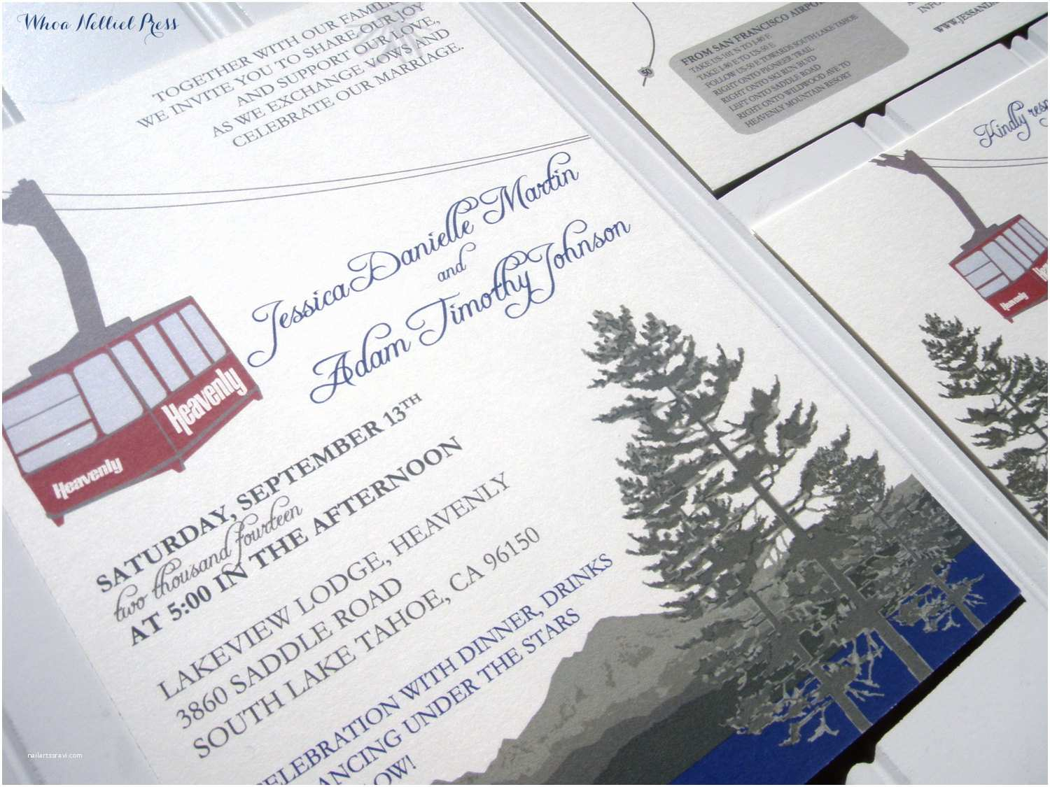 Lake Wedding Invitations Heavenly Mountain Tram Lake Tahoe Ski Wedding Invitations