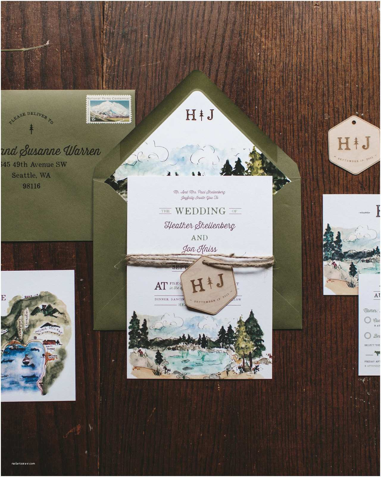 Lake Wedding Invitations Illustrated Lake Tahoe Inspired Wedding Invitations