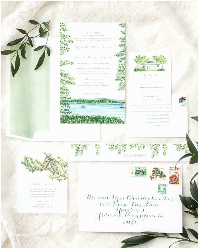 Lake Wedding Invitations Illustrated Lakeside Wedding Invitations