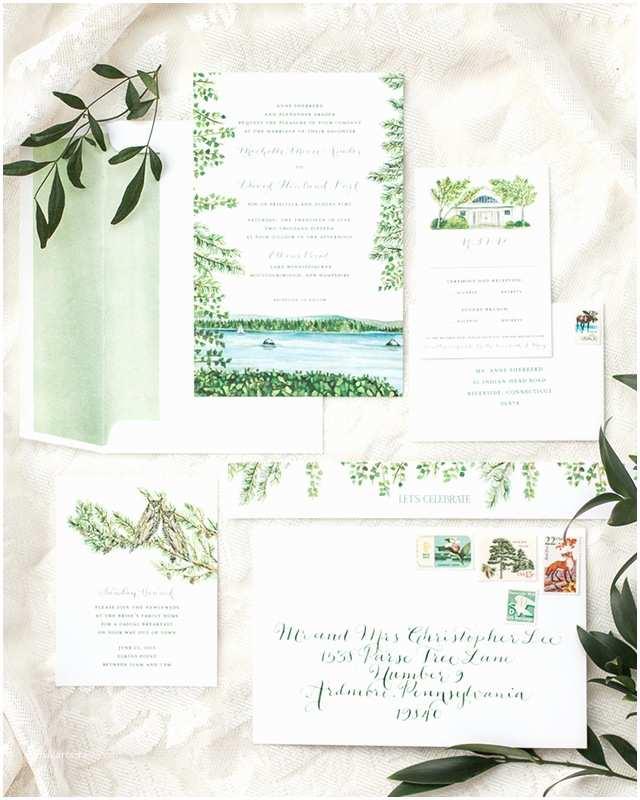 Lake Wedding  Illustrated Lakeside Wedding