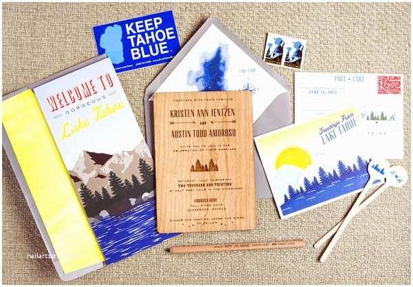 Lake  Invitations Kristen Austin S 1950s Inspired Lake Tahoe