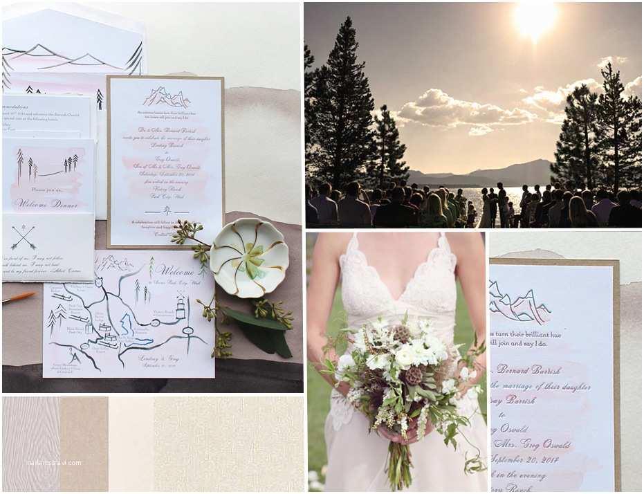 Lake Wedding Invitations Lake Tahoe Hand Illustrated Wedding Invitation